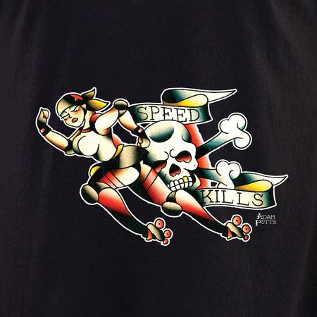 Adam Potts Speed Kills Tattoo Roller Derby Shirt | Roller Derby