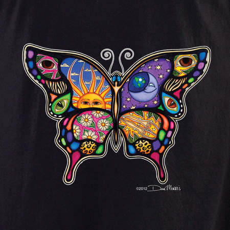 Dan Morris Day and Night Butterfly Shirt | T-Shirts