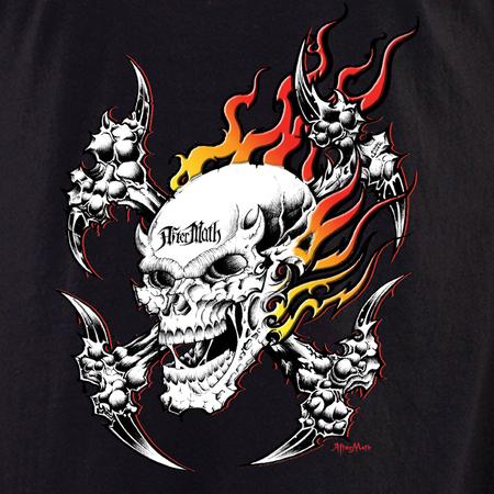 Aftermath Flaming Weapon Skull Shirt | Biker