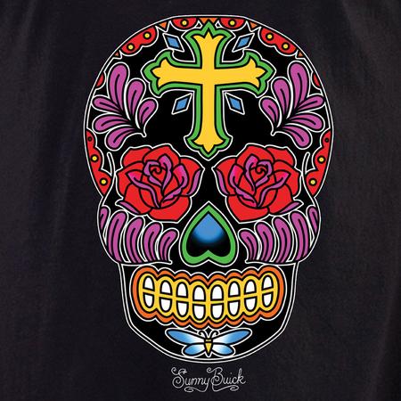 Sunny Buick Rose Cross Sugar Skull Shirt | Day of the Dead