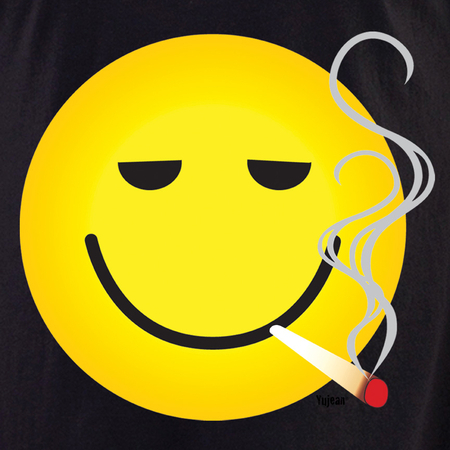 Smokin' Smiley White T shirt | Hippie