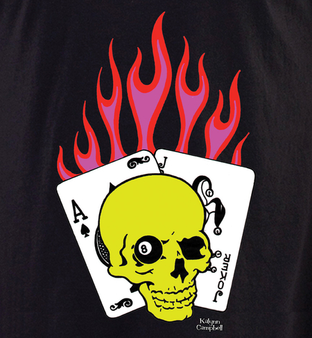 Kalynn's Flaming Cards Skull shirt