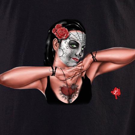 Pete Tapang Sugar Skull Pinup 3 Shirt | T-Shirts and Hoodies