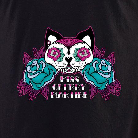 Miss Cherry Martini Sugar skull Cat tattoo shirt   Trend