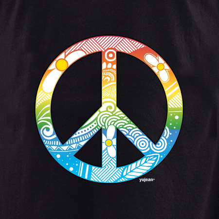 Yujean Zentangle Peace T shirt | Hippie