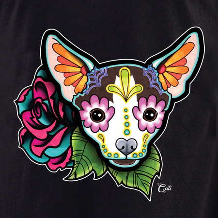 Cali Chihuahua with flowers Shirt | T-Shirts