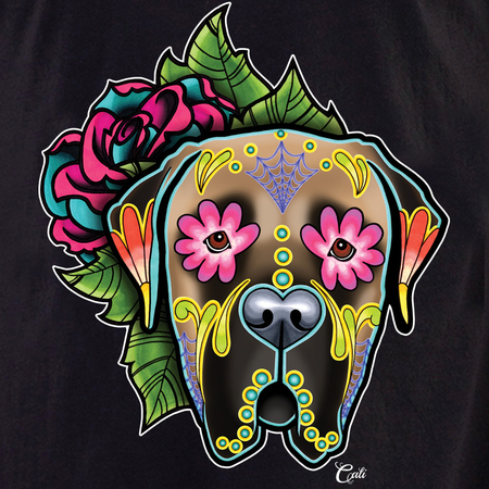 Cali Mastiff Fawn with flowers Shirt | T-Shirts