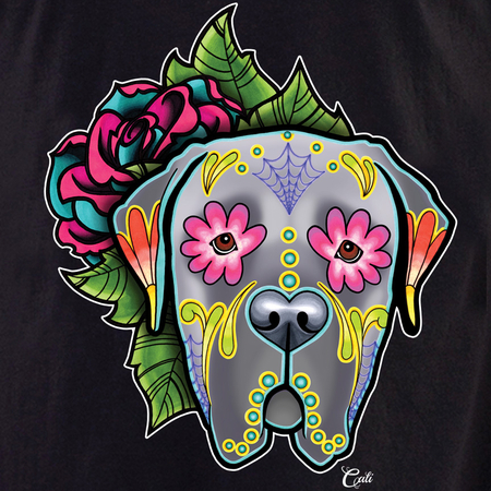 Cali Mastiff Grey with flowers Shirt | The Very Latest Shirts, Totes and Button Boxes!!