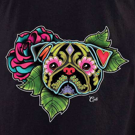 Cali Pug Black Flowers Shirt | T-Shirts