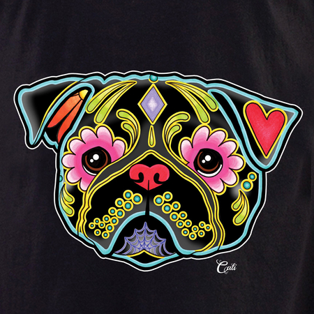 Cali Pug Black Shirt | T-Shirts