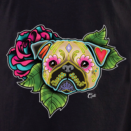 Cali Pug Fawn Flower Shirt | The Very Latest Shirts, Totes and Button Boxes!!