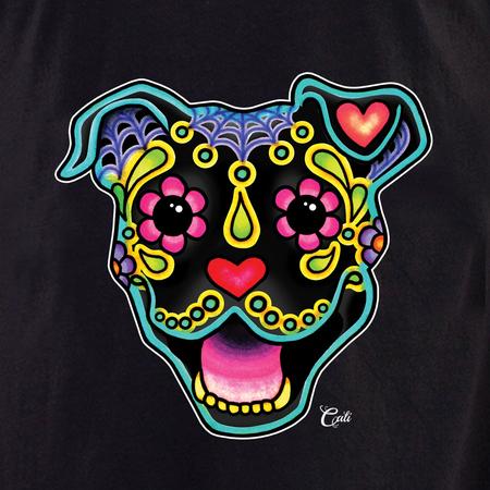 Cali Smiling Pit Bull Black Shirt | T-Shirts