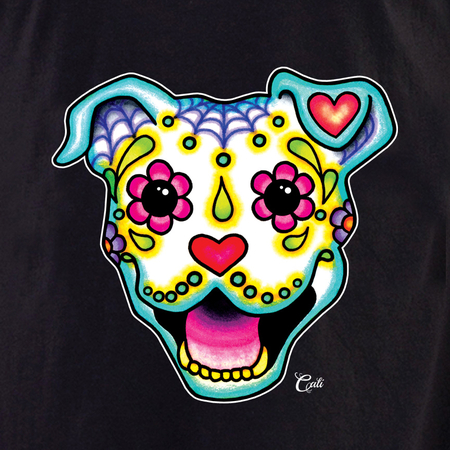 Cali Smiling Pit Bull White Shirt   The Very Latest Shirts, Totes and Button Boxes!!