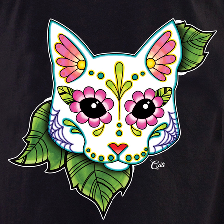 Cali Cat White with leaves Shirt | T-Shirts and Hoodies