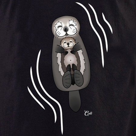 Cali Otter Mom and Baby with waves Shirt | Peace and Eco