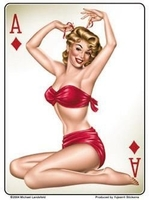 Ace Of Diamonds Pinup Sticker