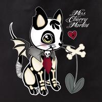 Miss Cherry Martini Skeleton Kitty Tote Bag