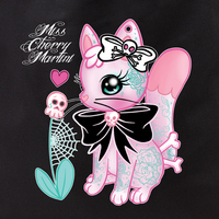 Miss Cherry Martini Tattoo Kitty and Crossbones Tote Bag