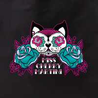 Cherry Martini Sugar Skull Kitty Tattoo tote