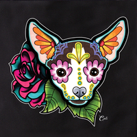 Cali Chihuahua with flowers Tote