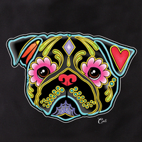 Cali Pretty In Ink Pug Black Tote