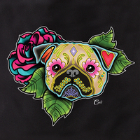 Cali Pretty In Ink Pug Fawn Flower Tote