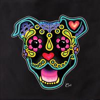 Cali Smiling Pit Bull Black Tote