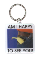 Happy To See You Pride Metal Keychain
