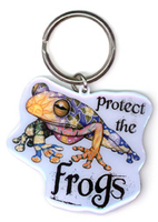 Protect The Frogs Metal Keychain