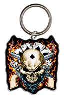 Cowboy Skull Biker Metal Keychain