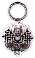 Racing Skull Metal Keychain