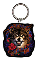 Lone Wolf Biker Metal Keychain