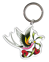 Adam Potts Love Swallow Tattoo Metal Keychain
