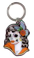 Lady Skull Metal Keychain