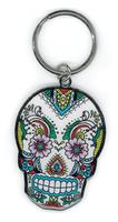 Sunny Buick Lace Sugar Skull Metal Keychain