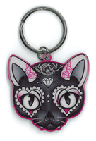 Cherry Martini Pink Cat Sugar Skull metal keychain