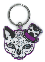 Cherry Martini Tophat Cat Sugar Skull Metal Keychain