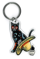Pretty in Ink Gato Con Sombrero Keyring
