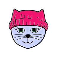 Pink Hat Cat Enamel Pin