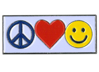 Peace, Love, Happy Enamel Pin