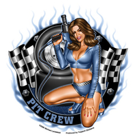 Pit Crew Girl Pinup Sticker