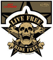 Hot Leathers Live Free Skull Biker Sticker
