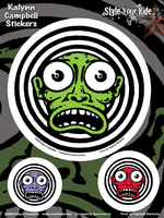 Kalynn Campbell Lowbrow Green Face 6x8 Sticker