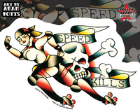 Adam Potts Speed Kills Roller Derby Sticker