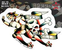 Adam Potts Speed Kills Roller Derby Sticker