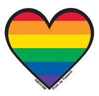 Mini Rainbow Gay Pride Heart Sticker, Packs of 25