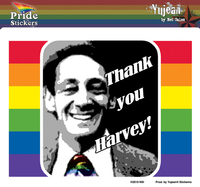Thank you, Harvey! Gay Pride Sticker