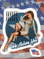 Michael Landefeld We Salute You Patriotic Pinup 6x8 Sticker