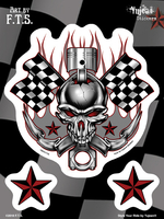 F.T.S Racing Skull 6x8 Sticker