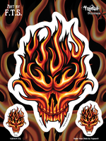 F.T.S Flame Skull 6x8 Sticker